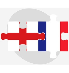 England and france flags in puzzle vector
