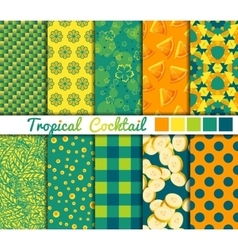 Set of 10 simple seamless patterns tropical vector