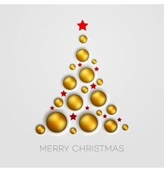 Simple golden christmas tree vector