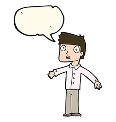 Cartoon shocked man with speech bubble vector