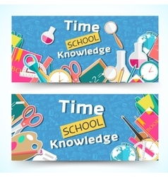 Flat back to school horizontal banners concept vector
