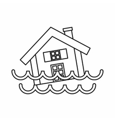 House sinking in a water icon outline style vector image
