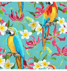 Tropical flowers and parrot bird background vector