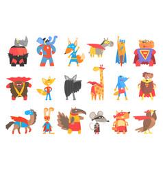 Animas disguised as superheroes set of geometric vector