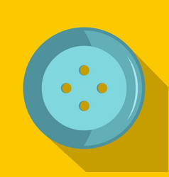 Blue clothing button icon flat style vector