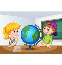 Boy and girl studying geography vector image vector image