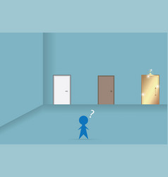 Businessman decision in front of three doors vector