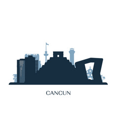 Cancun skyline monochrome silhouette vector
