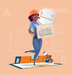 cartoon builder woman hold plan of building vector image