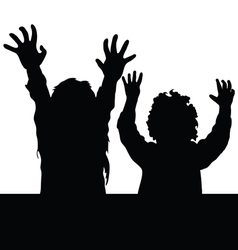 children happy silhouette vector image vector image