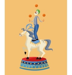 Clown over horse of carnival design vector