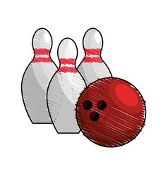 Color bowling pin ball icon vector