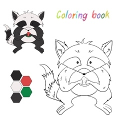Coloring book raccoon kids layout for game vector