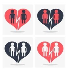 couple with broken heart vector image vector image