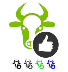 Cow thumb up flat icon vector
