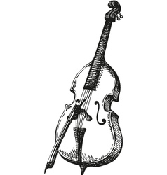 Double Bass with a bow vector image