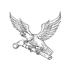 eagle clutching hammer drawing vector image vector image