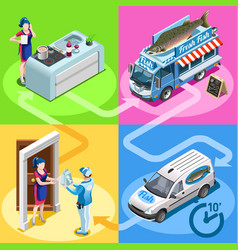 Food truck fish shop home delivery isometric vector