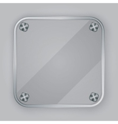 Glass app icon with silver screws vector image vector image