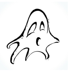 hand drawn ghost isolated on white background vector image vector image