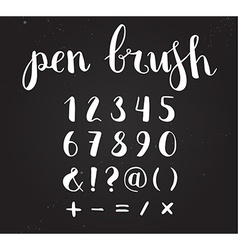 Hand drawn script numbers from 0 to 9 digits vector
