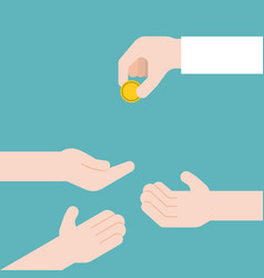 Hand giving gold coin and another three hands vector