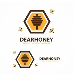 Honey and bee logo vector image