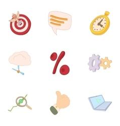 Internet data icons set cartoon style vector
