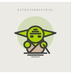 Little green extraterrestrial with ears logo icon vector