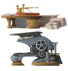 Old equipment for printing newspapers and press vector