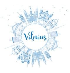 Outline vilnius skyline with blue landmarks vector
