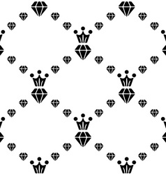 Seamless pattern with diamonds and crown vector