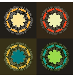 Set of ethnic circle elements orient design vector