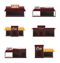 set of street cafe coffeeshop city cafe flat vector image