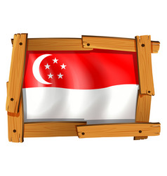 Singapore flag in wooden frame vector