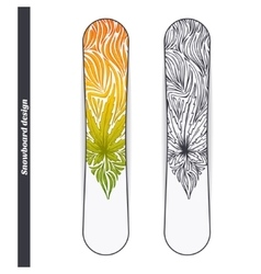 Snowboard design three vector