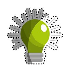Sticker green traditional bulb light icon vector