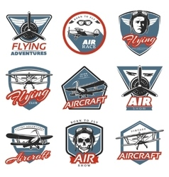 Vintage colorful aircraft logos vector