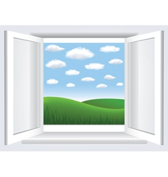 Window with meadow view vector