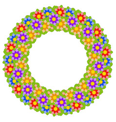 wreath of multicolored flowers on a white vector image