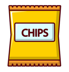 Yellow pouch of potato chips icon cartoon style vector