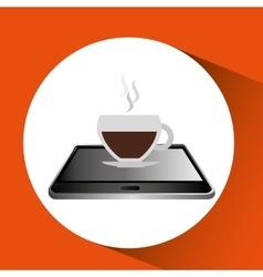 smartphone black lying cup coffee icon design vector image
