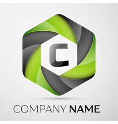 C letter colorful logo in the hexagonal on grey vector