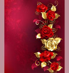 composition with red jewelry roses vector image