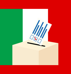 Election in italy voting paper and a ballot box vector