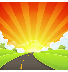 summer road with shining sun vector image