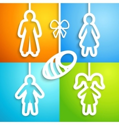 Set of applique family icons vector