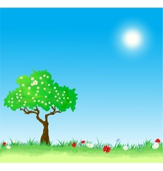 Spring Background with tree and flowers vector image