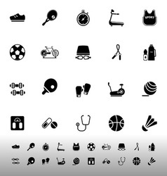 Fitness sport icons on white background vector
