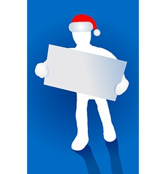 Santa claus with red hat and blank plate vector